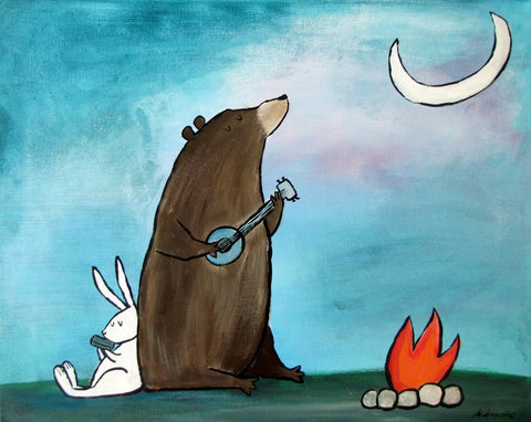 Kids wall art with a bear playing music with a bunny rabbit by a campfire for toddler room ideas.