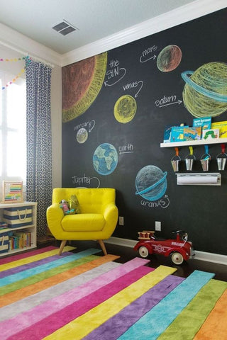 Chalkboard wall ideas for toddler room decor.