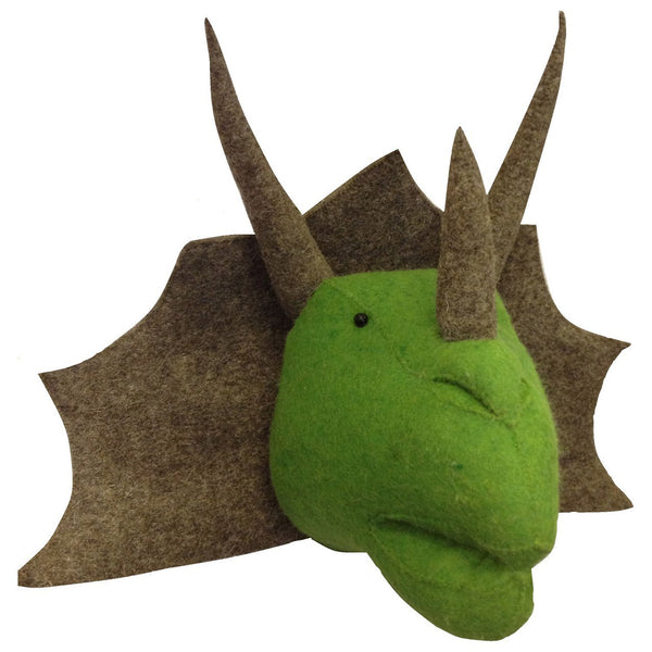 Plush animal Dino head for toddler room decor.