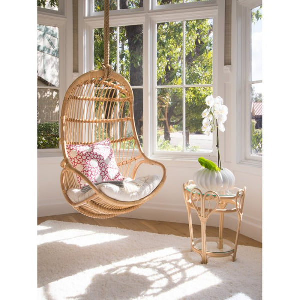 Boho chic hanging bedroom rattan chair for toddler room ideas.