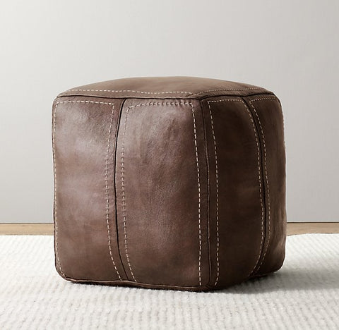 Kids floor pouf and cushion in a vintage leather fabric for toddler boys room ideas.