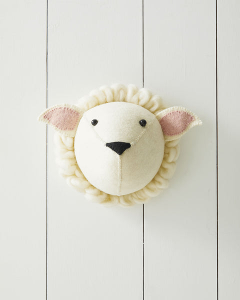 Adorable wall mounted animal plush sheep head for toddler boy room ideas.