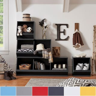 Toddler room storage ideas with modular cubbies in different colors.