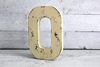 "Antique vintage yellow ""wooden"" letter O"