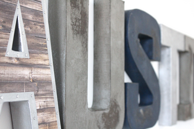 """Wooden"" and ""Metal"" wall letters for boys room."