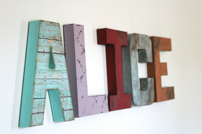Girl room name letters spelling out ALICE in a whimsical design