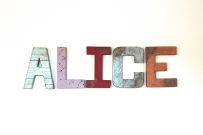 "ALICE nursery room letters in a whimsical ""wooden"" distressed style"