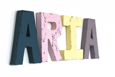 "Colorful ""wooden"" nursery letters spelling out a girls name ARIA."