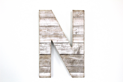 Beach white letter N for custom wall letter combinations.
