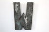 home wall letter decor in W in a distressed style