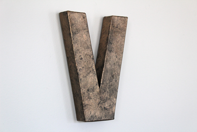 "bronze ""metal"" V wall letter"