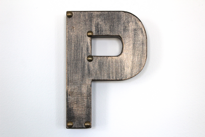 """Metal"" industrial wall letters for home and nurseries."