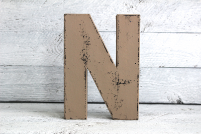Vintage style distressed letter N for room decor
