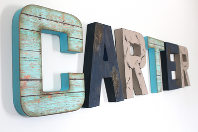 Signs for boys room name letters spelling out Carter in two different shades of blue and a medium gray.