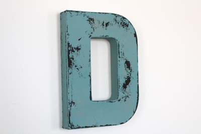 blue wedding wooden letter D for table decor.