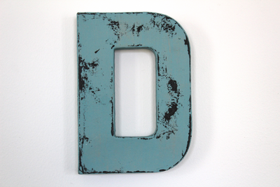 blue distressed letter D for wedding decor
