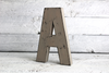 Freestanding vintage style letter A distressed with black