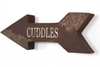 woodland theme nursery wall arrow with custom word cuddles on it.