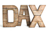 "Farmhouse reclaimed ""wooden"" letter in a brown color spelling out the name DAX."