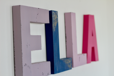 Girls name wall letters spelling out ELLA in purple, blue, and pink.