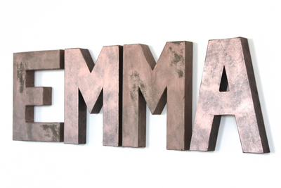 "Pink and Rose Gold ""Metal"" Letters Spelling out EMMA"