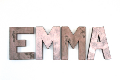 Girls Room Letters EMMA in Rose Gold and Pink