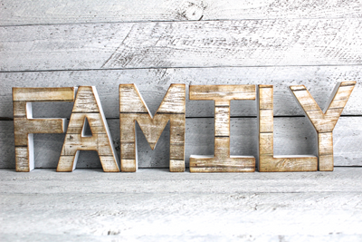 Family letter sign in white and beige freestanding