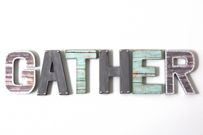 """Metal"" gather holiday sign"