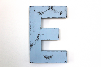 distressed blue nursery letter E
