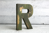 "Distressed ""wooden"" letter R in a rustic farmhouse finish"