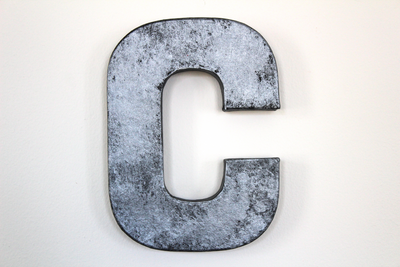 "Gray ""metal"" rusty industrial letter C"