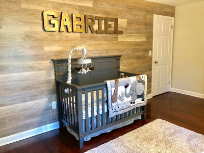 Bronze letters for industrial and rustic nursery decor spelling out Gabriel.