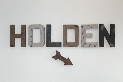 "Boy name HOLDEN with arrow in rustic ""wooden"" letters"