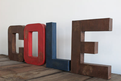 "Rustic ""wooden"" letter boys name COLE in freestanding letters"