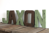 """Wooden"" JAXON letters in brown and green"