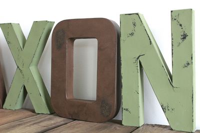 "Distressed brown ""wooden"" letter O and a green distressed letter N"