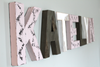 Girls Katelyn name letters on the wall in pink, brown, and white