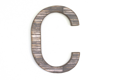 Large rustic letter C in a farmhouse style finish.
