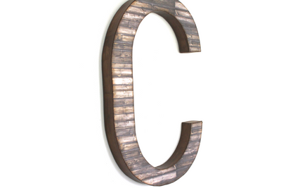Large farmhouse wall letter C in a rustic finish.