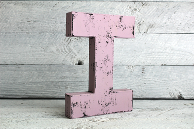 Lilac purple wooden letter I distressed with black