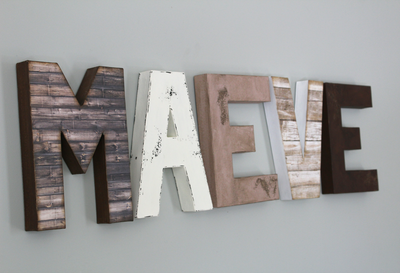 """Wooden"" farmhouse MAEVE  letters for girls room"