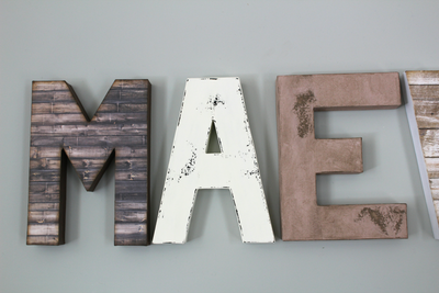 "Rustic Farmhouse ""wooden"" MAEVE letters in brown ""wood"", white, and pink letters"