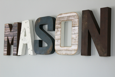 Farmhouse Woodland Theme Nursery MASON name on the wall