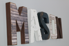 "Mason letters in a farmhouse rustic ""wooden"" name"