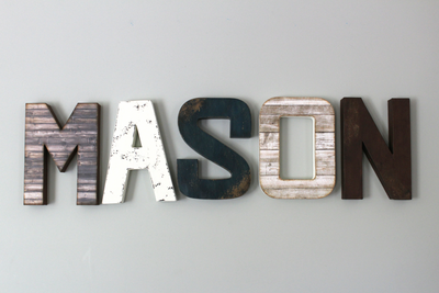 """Wooden"" Farmhouse Nursery wall letters in MASON"