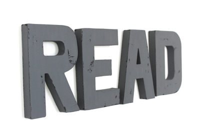 Gray read sign letters for playroom wall decor and nursery wall art.