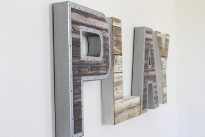 Industrial farmhouse play sign for children's playroom wall decor.
