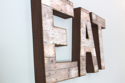 Rustic Wall Eat Letters in Brown and Pink