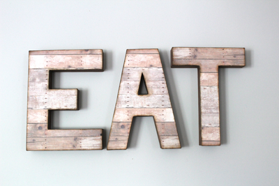 "Brown and Pink Reclaimed ""Wooden"" EAT Letters for Kitchen Decor"