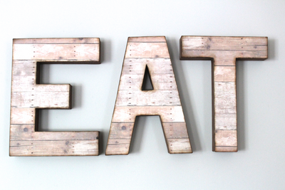 "Rustic ""EAT"" Letters in a Brownish Pink ""wooden"" Finish"